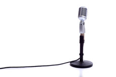 Vintage Microphone on White Stock Photo