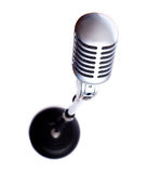 Vintage Microphone on White. A vintage looking microphone on a white background with copy space stock photos