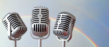 Vintage mics and rainbow Royalty Free Stock Photos