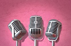 Vintage mics trio microphone rock roll singing group band sing song equipment stock photography