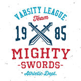 Vintage mighty swords varsity apparel design Royalty Free Stock Images