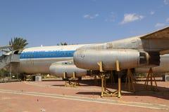 Vintage military aircraft on display at the Israeli Air Force Museum. HATZERIM, ISRAEL - MAY 2, 2017: Vintage military aircraft on display at the Israeli Air Royalty Free Stock Photo