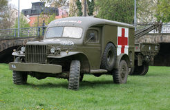 Vintage military ambulance. Industries transportation Stock Image