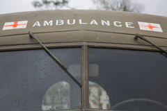 Vintage military ambulance US  windshield Stock Photos