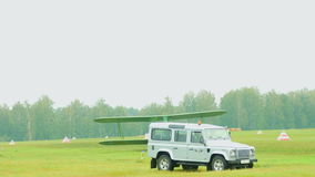 Vintage military biplane stock video footage