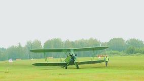 Vintage military biplane stock video