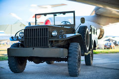 Vintage military car at the airport Royalty Free Stock Photo
