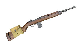 Vintage military carbine rifle isolated. stock photo