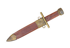 Vintage military dagger and scabbard isolated. Stock Images