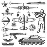 Vintage Military Elements Collection. With ground and air force missiles wings helmet awards eternal flame  vector illustration Stock Photography