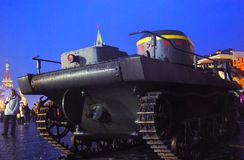 Vintage military equipment shown on the Red Square in Moscow Stock Images