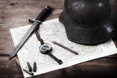 Vintage military items Royalty Free Stock Photography