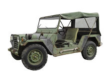 Vintage military jeep isolated. Royalty Free Stock Image