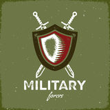 Vintage military label with shield and crossed swords Stock Photography