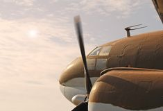 Vintage Military Plane. Vintage WWII Curtis C-46 Commando Transport Aircraft in Flight Stock Photography