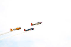 Vintage military planes flying Royalty Free Stock Photo