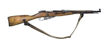 Vintage military rifle on white background. Vintage military rifle with bayonet in its closed position, isolated Royalty Free Stock Photos