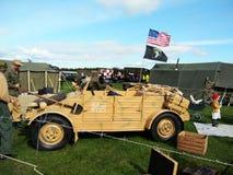 Vintage military Volkswagen Kubelwagen, agricultural hopper cary Volkswagen Kubelwagen, agricultural hopper car. Vintage military Volkswagen Kubelwagen stock image