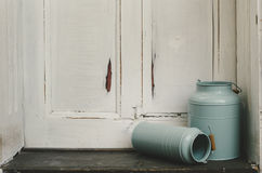 Vintage milk canisters. Royalty Free Stock Images