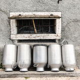 Vintage milk cans. Royalty Free Stock Photo