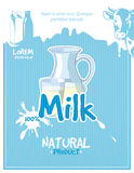 Vintage milk vector poster Royalty Free Stock Photos