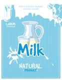 Vintage milk vector poster Royalty Free Stock Photos