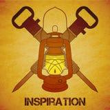 Vintage mine kerosene lantern with jackhammers Stock Images