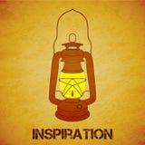 Vintage mine kerosene lantern over yellow grunge Stock Images