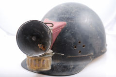 Vintage miner's helmet. Antique mining helmet with carbide lamp attached royalty free stock photography
