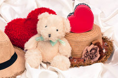 Vintage mini bear and red hart Royalty Free Stock Photo