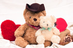 Vintage mini bear and red hart Royalty Free Stock Images