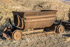 Vintage Mining Ore Cart. Vintage Iron Ore Cart Used In Mining Operations In Early Morning Light stock photos
