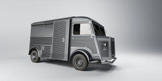 Vintage minivan. Black and white vector illustration