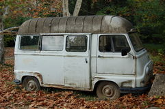 Vintage minivan in autumn. Colours Royalty Free Stock Images