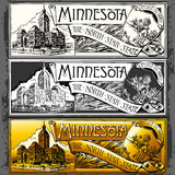 Vintage Minnesota Label Plaque, Withe, Black and Gold Royalty Free Stock Photo