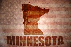 Vintage minnesota map. Minnesota map on a vintage american flag background royalty free stock image