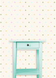 Vintage mint wooden chest drawer near vintage dots wall Stock Photography