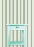 Vintage mint wooden chest drawer near vintage stripes wall.  stock illustration