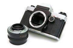 Vintage mirror camera. On white background Stock Photo