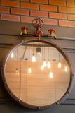 Vintage mirror decorated on old style wall Stock Photography