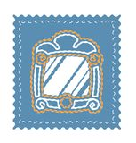 Vintage mirror vector on blue background. Embroidery mirror icon Royalty Free Stock Image