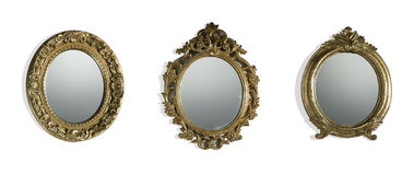 Vintage mirrors. Set of three different vintage mirrors isolated on white background stock image