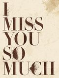 Vintage Miss You, love poster or postcard. Royalty Free Stock Photography