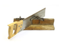 Vintage miter box with saw Stock Image