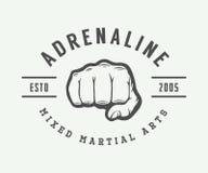 Vintage mixed martial arts logo, badge or emblem. Stock Photo