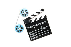 Vintage 8mm blue movie reels and clapper board white background Royalty Free Stock Image