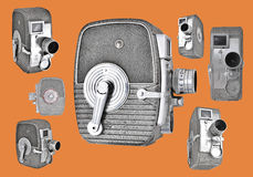 Vintage 8mm Cameras in retro layout Stock Photography