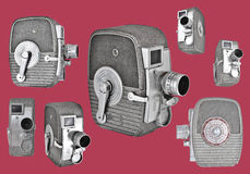 Vintage 8mm Cameras in retro layout Royalty Free Stock Images