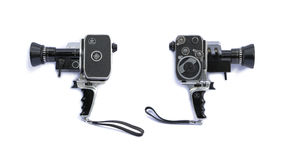 Vintage 8mm film movie camera left-right Royalty Free Stock Images
