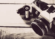 Vintage 35 mm film photo camera Royalty Free Stock Image
